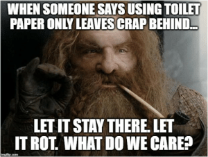 Shower, Lord of the Rings, and Com: WHEN SOMEONE SAYS USING TOILET  PAPER ONLY LEAVES CRAP BEHIND..  LET IT STAY THERE LET  IT ROT WHAT DO WE CARE?  imgflip.com Next shower will take care of it.