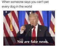 You Are Fake News: When someone says you can't pet  every dog in the world  @mo wad  You are fake news.
