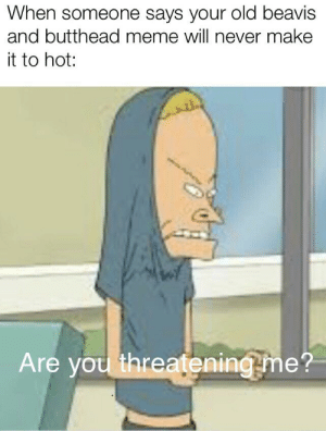 Bring these legends back please!: When someone says your old beavis  and butthead meme will never make  it to hot:  Are you threatening me? Bring these legends back please!