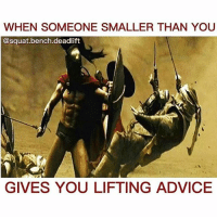 Nope 😅: WHEN SOMEONE SMALLER THAN YOU  @squat bench deadlift  GIVES YOU LIFTING ADVICE Nope 😅