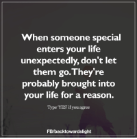 <3: When someone special  enters your life  unexpectedly, don't let  them go. They're  probably brought into  your life for a reason.  Type YES' if you agree  FB/back towardslight <3