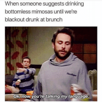Drinking, Drunk, and Girl Memes: When someone suggests drinking  bottomless mimosas until we're  blackout drunk at brunch  Ok, now you're talking my language. Need an IV of mimosas stat
