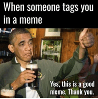 Meme, Memes, and Thank You: When someone tags you  In a meme  Yes, this is a good  meme. Thank you Common courtesy.