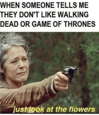 Funny Walking Dead Memes: WHEN SOMEONE TELLS ME  THEY DON'T LIKE WALKING  DEAD OR GAME OF THRONES  just ook at the flowers