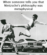 metaphysical: When someone tells you that  Nietzsche's philosophy was  metaphysical  337