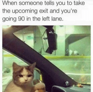 Left Lane: When someone tells you to take  the upcoming exit and you're  going 90 in the left lane.