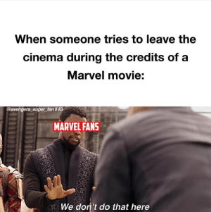 Funny, Avengers, and Marvel: When someone tries to leave the  cinema during the credits of a  Marvel movie:  @avengers super_fan II IG  MARVEL FANS  1  We don't do that here We just dont via /r/funny https://ift.tt/2JP4mtz