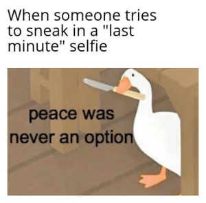 "Peace will never be an option!: When someone tries  to sneak in a ""last  minute"" selfie  peace was  never an option Peace will never be an option!"