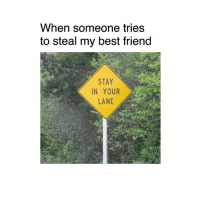 Best Friend, Memes, and Best: When someone tries  to steal my best friend  STAY  IN YOUR  LANE 👋🏻