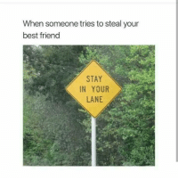 Best Friend, Memes, and Best: When someone tries to steal your  best friend  STAY  IN YOUR  LANE