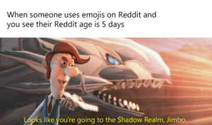 He's a public menace!: When someone uses emojis on Reddit and  you see their Reddit age is 5 days  u/wildpants 123  Looks like you're going to the Shadow Realm, Jimbo. He's a public menace!