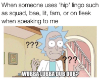Bae, Fam, and Lit: When someone uses 'hip' lingo such  as squad, bae, lit, fam, or on fleek  when speaking to me  ?グ  WUBBALUBBADUBDUB?