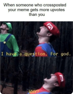 meirl: When someone who crossposted  your meme gets more upvotes  than you  I have a question. For god.  WHY? meirl