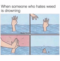 Bye Felicia, Weed, and Marijuana: When someone who hates weed  is drowning  @Buddy TheLeaf Bye Felicia! 😂 @buddytheleaf