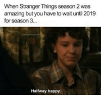 stranger things: When Stranger Things season 2 was  amazing but you have to wait until 2019  for season 3  Halfway happy.
