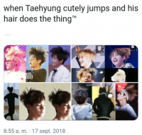"""Hair, Bts, and Sept: when Taehyung cutely jumps and his  hair does the thing""""  TM  8:55 a. m. 17 sept. 2018 #bts #v"""
