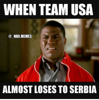The final score was 94-91😨 Not hating on Serbia at all, they got some talent & played a fantastic game against the USA but there's no reason the US National team shouldn't be able to beat a team with only one current NBA player (Nikola Jokic) by more than 3 points 😂 Double tap and tag some friends below! 👍⬇: WHEN TEAM USA  NBA MEMES  ALMOST LOSES TO SERBIA The final score was 94-91😨 Not hating on Serbia at all, they got some talent & played a fantastic game against the USA but there's no reason the US National team shouldn't be able to beat a team with only one current NBA player (Nikola Jokic) by more than 3 points 😂 Double tap and tag some friends below! 👍⬇