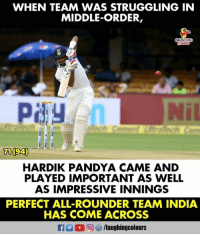 India, Indianpeoplefacebook, and Team: WHEN TEAM WAS STRUGGLING IN  MIDDLE-ORDER,  71 (94)  HARDIK PANDYA CAME AND  PLAYED IMPORTANT AS WELL  AS IMPRESSIVE INNINGS  PERFECT ALL-ROUNDER TEAM INDIA  HAS COME ACROSS #HardikPandya #IndvAfg