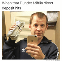 Memes, 🤖, and Name: When that Dunder Mifflin direct  deposit hits  toDiDO  MADE WITH MOMUS What would the name of his album be 🤔⁉️