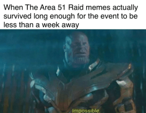 Life, Memes, and Dank Memes: When The Area 51 Raid memes actually  survived long enough for the event to be  less than a week away  Impossible What's the average life expectancy of memes these day?