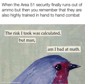 Me👽irl by giardinojag MORE MEMES: When the Area 51 security finally runs out of  ammo but then you remember that they are  also highly trained in hand to hand combat  The risk I took was calculated,  but man,  am I bad at math.  made with mematic Me👽irl by giardinojag MORE MEMES