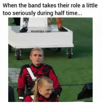 Funny, Time, and Band: When the band takes their role a little  too seriously during half time.  Hoodclips.com His face 😂
