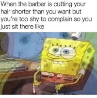 Barber, Funny, and Smh: When the barber is cutting your  hair shorter than you want but  you're too shy to complain so you  just sit there like Shitty barbers smh
