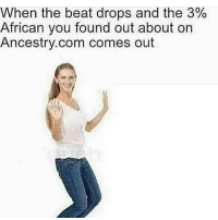 white bread: When the beat drops and the 3%  African you found out about on  Ancestry.com comes out white bread