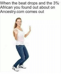 Bitch, Memes, and Ancestry: When the beat drops and the 390  African you found out about on  Ancestry.com comes out This lame duck bitch probably couldn't take 3% of this African dick though.