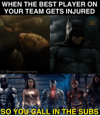 Barry looks like that one player who never gets put in and is nervous as hell😂😂😂: WHEN THE BEST PLAYER ON  YOUR TEAM GETS INJURED  IG: @kingofmetahumans  SO YOU GALL IN THE SUBS Barry looks like that one player who never gets put in and is nervous as hell😂😂😂