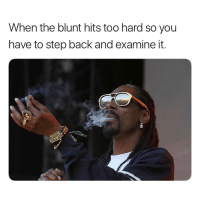 Weed, Marijuana, and Back: When the blunt hits too hard so you  have to step back and examine it. When you hit the blunt and the blunt hit you right back 😂