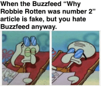 """Fake, Buzzfeed, and Irl: When the Buzzfeed """"Why  Robbie Rotten was number 2""""  article is fake, but you hate  Buzzfeed anyway. Me irl"""