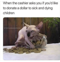 Children, Sick, and Thought: When the cashier asks you if you'd like  to donate a dollar to sick and dying  children  oTheTastelessGerjtlemen Spare a thought!