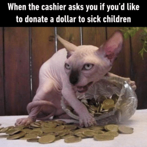 Children, Dank, and Sick: When the cashier asks you if you'd like  to donate a dollar to sick children I would if I could.