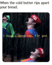 God, Meme, and Http: When the cold butter rips apart  your bread.  I have a question. For god. INVEST IN THIS Meme for large gains! Just replace caption for things you don't like. via /r/MemeEconomy http://bit.ly/2FIpY7M