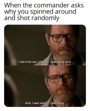 Just like the simulation: When the commander asks  why you spinned around  and shot randomly  I did it for me. I liked it. I was good at it.  And, I was really... I was alive. Just like the simulation