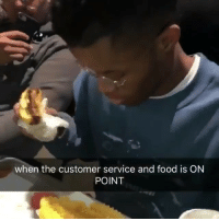 Food, Memes, and 🤖: when the customer service and food is ON  POINT WAIT TIL THE END 💀😂