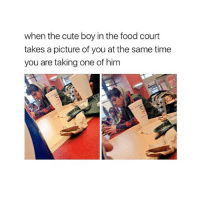 Cute, Food, and Time: when the cute boy in the food court  takes a picture of you at the same time  you are taking one of him This is me