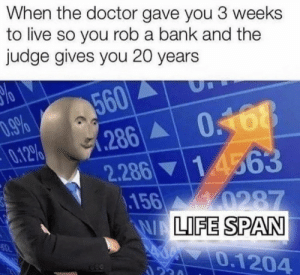 .: When the doctor gave you 3 weeks  to live so you rob a bank and the  judge gives you 20 years  560  .286 0168  0.12%  1 4563  2.286  156 0287  WALIFE SPAN  0.1204  ২। .