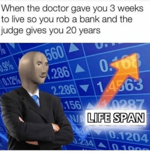 : When the doctor gave you 3 weeks  to live so you rob a bank and the  judge gives you 20 years  560  286 068  2.286 14563  156 0287  WALIFE SPAN  .9%  0.12%  0.1204  0.234 0 100