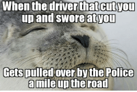 Advice, Fuck You, and Police: When the driver that cutyou  up and swore atyou  Gets pulled over bythe Police advice-animal:  Yeah. Fuck you too, buddy.