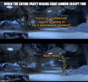 Head, Party, and DnD: WHEN THE ENTIRE PARTY WEARS LLIGHTARMOR EXCEPT YOU  Hurry up, Goldenrod!  Or you're going to  be a permanent resident!  Wait! Wait!  imgflip.com Heavy is the head of he who has high AC.
