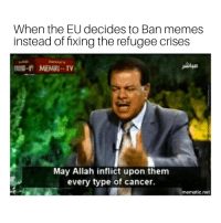 Memes, Cancer, and Dank Memes: When the EU decides to Ban memes  instead of fixing the refugee crises  MEMRI-TV  May Allah inflict upon them  every type of cancer  mematic.net