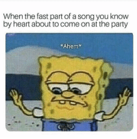 : When the fast part of a song you know  by heart about to come on at the party  Ahem