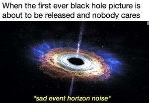srsfunny:Why ya'll don't care?: When the first ever black hole picture is  about to be released and nobody cares  sad event horizon noise* srsfunny:Why ya'll don't care?