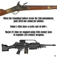 Guns, Time, and 2nd Amendment: When the Founding Fathers wrote the 2nd amendment,  guns fired one round per minute.  Today's riiles have a cyclic rate oi 600+.  Maybe if's time we stopped using 18th century laws  to regulate 21st century weapons.  TPA Exactly.