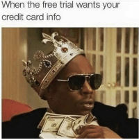 """Memes, Free, and Credit Card: When the free trial wants your  credit card info <p>Something is wrong here via /r/memes <a href=""""https://ift.tt/2KEZLGr"""">https://ift.tt/2KEZLGr</a></p>"""