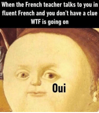 Memes, French, and 🤖: When the French teacher talks to you in  fluent French and you don't have a clue  WTF is going on  Oui @whitepeoplehumor always makes me laugh!!