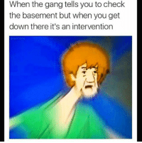 intervention shaggy scoobiedoo: When the gang tells you to check  the basement but when you get  down there it's an intervention intervention shaggy scoobiedoo