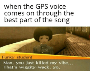That's wiggity wack: when the GPS voice  comes on through the  best part of the song  Funky student  Man, you just killed my vibe...  That's wiggity-wack, yo. That's wiggity wack